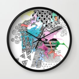 Abstract Bonnie Scotland Inktense Zendoodle Wall Clock