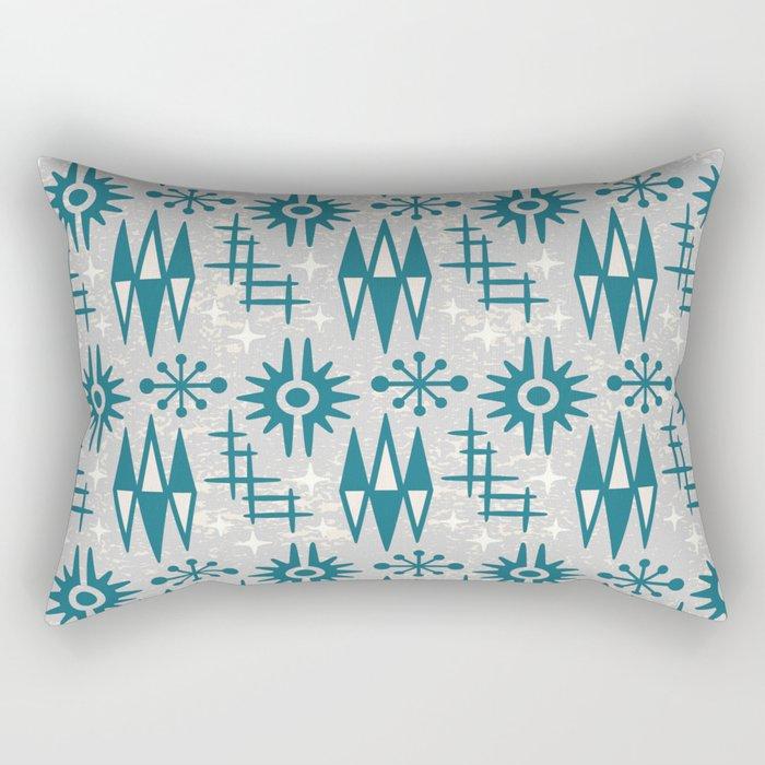 Mid Century Modern Atomic Space Age Pattern Grey Green Rectangular Pillow
