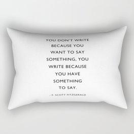 F Scott Fitzgerald, Writer Quote, Rectangular Pillow