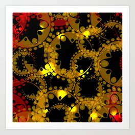 abstract glowing pattern of gears and spheres in red gold on a black background for fabrics o Art Print