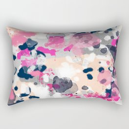 Nico - Abstract painting in modern fresh colors navy, mint, pink, cream, white, and gold Rectangular Pillow