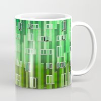 green pattern Mugs featuring Green Pattern by Maria Eugenia Espino