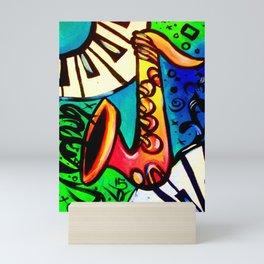 Sax and keys Mini Art Print