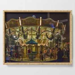 Christmas Market -  Carousel -  Christmas -  Christmas Time - Vintage illustration. Retro décor. Serving Tray