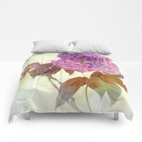 purple peony Comforters