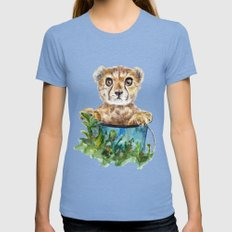 cheetah Tri-Blue Womens Fitted Tee SMALL