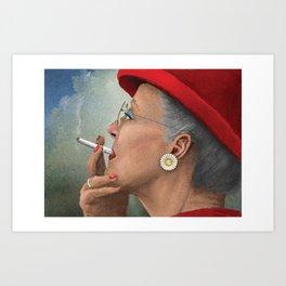 Queen of Denmark smoking a cig Art Print
