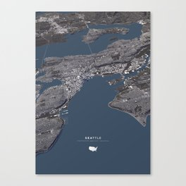 Seattle City Map II Canvas Print