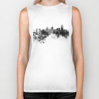 cincinnati Biker Tanks featuring Cincinnati skyline in black watercolor by Paulrommer