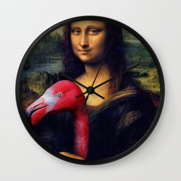 Mona Lisa and Her Flamingo Wall Clock
