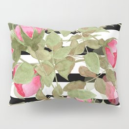 Watercolor . Buds of roses on a striped black and white background Pillow Sham