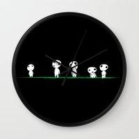 kodama Wall Clocks featuring PRINCESS MONONOKE - KODAMA by The Fugu Project