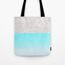 Painted Marble - Gray Aqua Silver Tote Bag