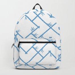 Bamboo Chinoiserie Lattice in White + Light Blue Backpack