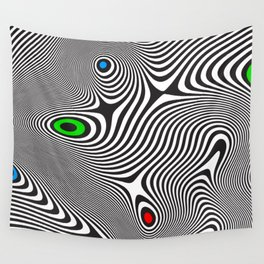 Black wavy lines color accents Wall Tapestry