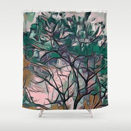 GREEN TREE PAINTING Shower Curtain