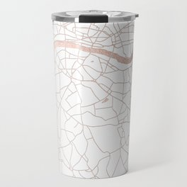 White on Rosegold London Street Map Travel Mug
