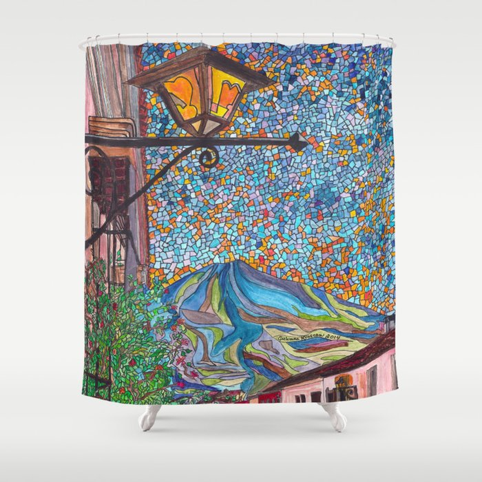 A Lamp In Antigua Shower Curtain By Mosaicpen