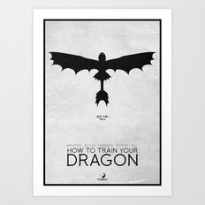 How To Train Your Dragon - minimal poster Art Print