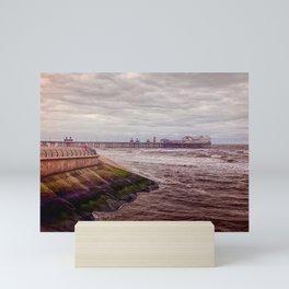 Blackpool seafront - winter storm Mini Art Print