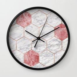 Rosa marble hexagons Wall Clock