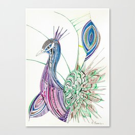 Lines & feathers Canvas Print
