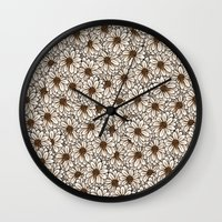 daisies Wall Clocks featuring Daisies by Marta Li