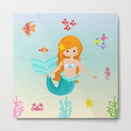 Little Girl Mermaid Metal Print