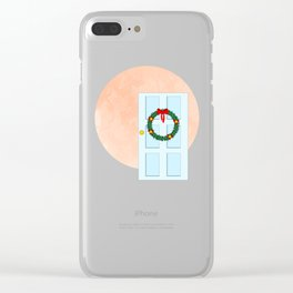 Traditional Christmas wreath on an old fashioned door Clear iPhone Case