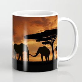 African elephants silhouettes in sunset Coffee Mug