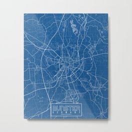 Munster City Map of Germany - Blueprint Metal Print