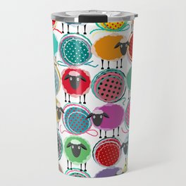 Bright Sheep and Yarn Pattern Travel Mug