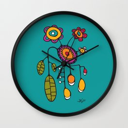 Flower Pot in Color on Teal Wall Clock