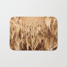 golden cereal grain ears on field Bath Mat