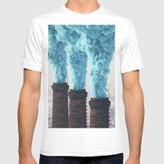 Blue Pollution Mens Fitted Tee MEDIUM White