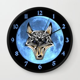 Wolf-Blue Moon Wall Clock