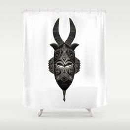 Horned tribal mask Shower Curtain