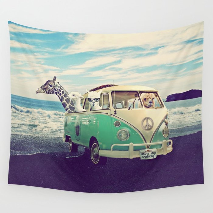 NEVER STOP EXPLORING THE BEACH Tapestry by Monika Strigel Editions