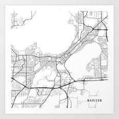 Madison Map, USA - Black and White Art Print