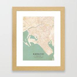 Karachi, Pakistan - Vintage Map Framed Art Print