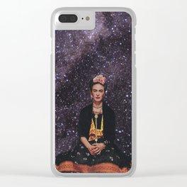 Frida in Space Clear iPhone Case