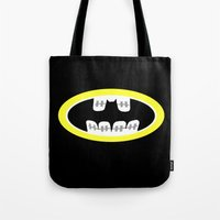 comic book Tote Bags featuring Braces/ Comic book by Aztec Pineapple