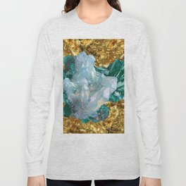 WHITE QUARTZ &  AQUAMARINE CRYSTALS  ON GOLD Long Sleeve T-shirt