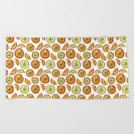 Illustrated Oranges and Limes Beach Towel