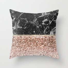 Warm chromatic - rose gold and black marble Throw Pillow