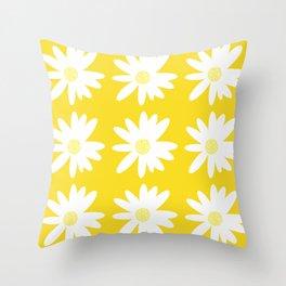 White Daisy Flowers Yellow Background Summer Mood #decor #society6 #buyart Throw Pillow