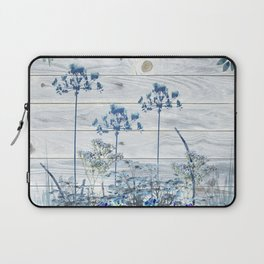 Rustic Barn Wood Series: Blue Farm Flowers Laptop Sleeve