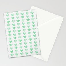 Watercolor Green Hearts Stationery Cards
