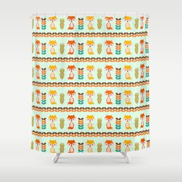 Foxes, grains and leaves Shower Curtain