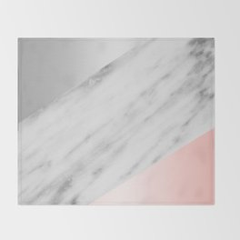 Pink Grey and Marble Collage Throw Blanket